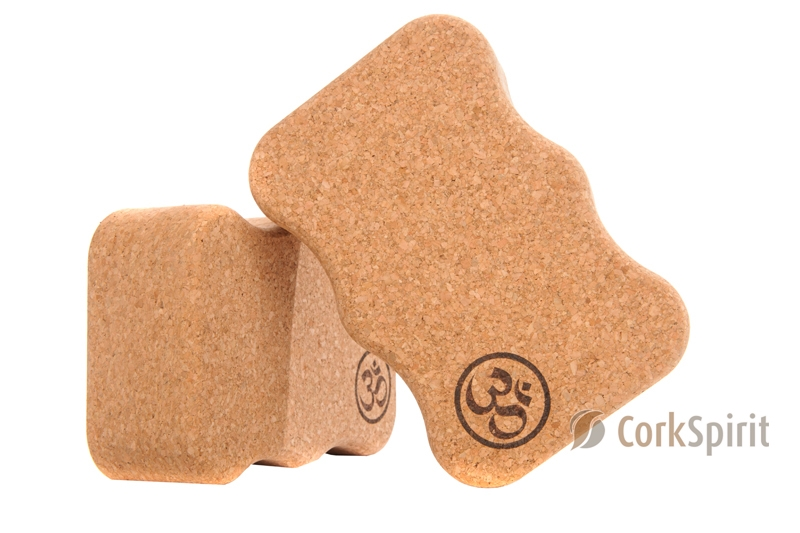 2 X Natural Cork Yoga Block Brick Wave 75mm with OM - Eco Friendly