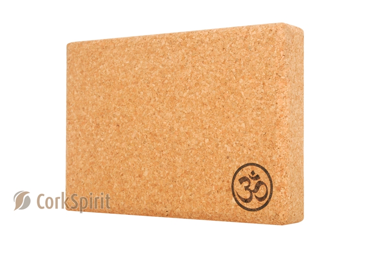 Cork Yoga Block Brick 305x205x50mm with OM - Eco Friendly