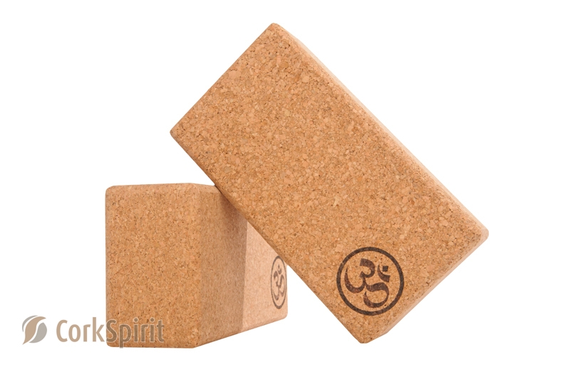 2 X Natural Cork Yoga Block Brick 70mm with OM - Eco Friendly