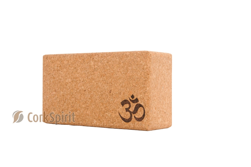 Natural Cork Yoga Block Brick 75mm with OM - Eco Friendly