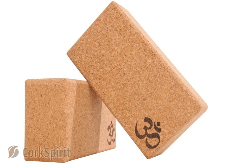 Co00182 2 X Natural Cork Yoga Block Brick 70mm With Om
