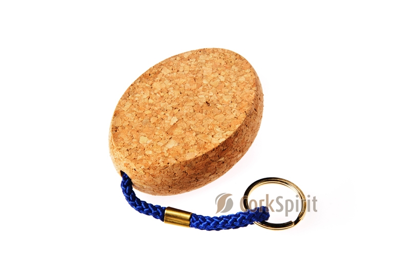 Oval Floating Cork Keychain / Floating Cork Key Ring