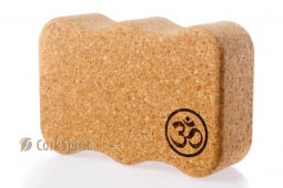 Natural Cork Yoga Block Brick Wave with OM
