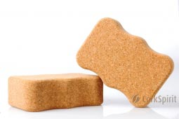2 X Natural Cork Yoga Block Brick Wave