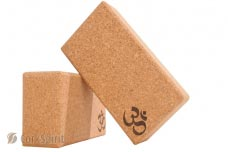 2 X Natural Cork Yoga Block Brick 75mm with OM - Eco Friendly